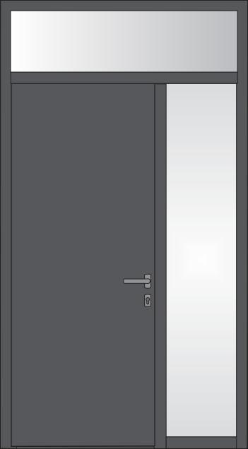 Tür mit feststehendem Glas rechts und feststehendem oder kippbarem Oberlicht