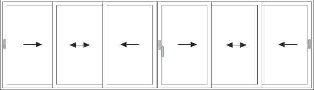 Öffnungsarten der Schiebesysteme Paysage by QFORT 4Stars